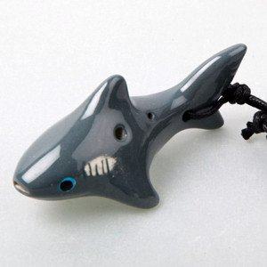 Shark 4 Holes Novelty Pendant Ceramic Ocarina. Great Gift, Dexterous, Easy to Carry and Learn. Linn's Arts!