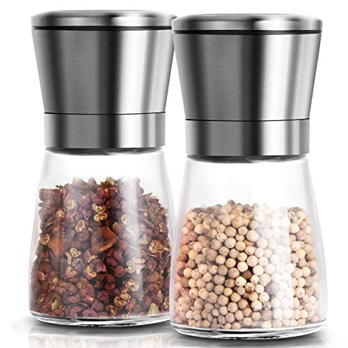Salt & Pepper Mill Shakers Set of 2 - Premium Salt and Pepper grinder set, Adjustable and Easy To Use, Stainless Steel Top, Ceramic Rotor and a Thick Glass Body with Large Capacity