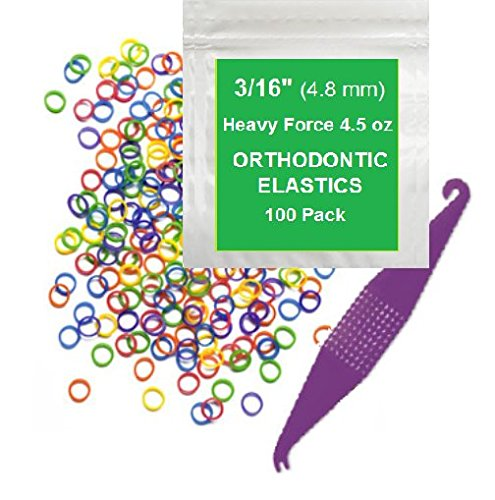 3/16 inch Orthodontic Elastic Rubber Bands 100 Pack Neon Heavy Force 4.5 oz Small Rubberbands make bows Dreadlocks Dreads Doll Hair Braids Horse Mane Tail Fix Tooth Gap Top Knots FREE Elastic Placer for braces