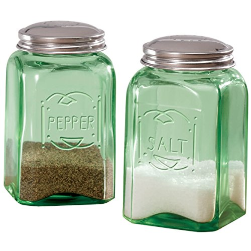 Depression Style Glass Salt and Pepper Shakers, Classic Green