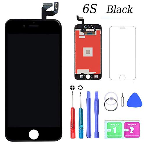 MWBDD Compatible with iPhone 6s Screen Replacement Black 4.7 Inch LCD Display with 3D Touch Screen Digitizer Frame Full Assembly Include Full Free Repair Tools Kit+Instruction+Screen Protector