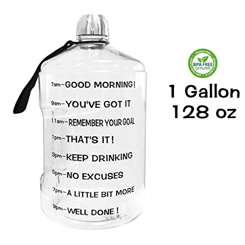 QuiFit 1 Gallon Water Bottle Reusable Leak-Proof Drinking Water Jug for Outdoor Camping Hiking BPA Free Plastic Sports BottleTransparent