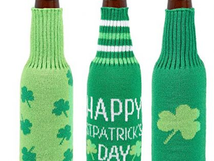 Beer Bottle Covers - 3-Pack Beer Coolies, St. Patrick's Day-Themed Bottle Sleeves, Covers for Glass Beer Bottles, Soda Bottles, 3 Unique Green Designs