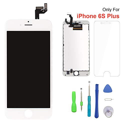 Screen Replacement for iPhone 6s Plus White 3D Touch Screen LCD Digitizer Replacement Frame Display Assembly Set with Repair Tool Kits6s Plus, White