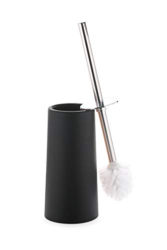 Toilet Bowl Brush and Holder- Stainless Steel Handle Toilet Scrubber- Modern Black Classy Design