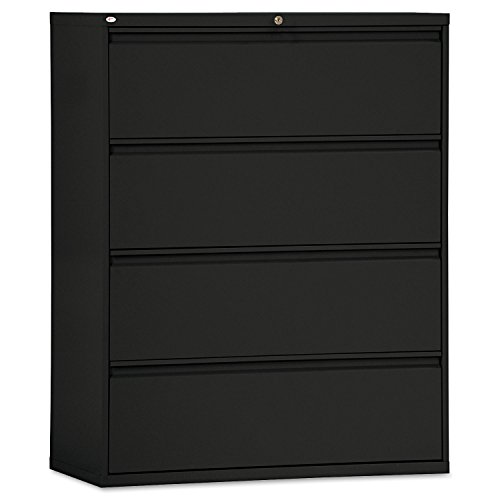 Alera ALELF4254BL Four-Drawer Lateral File Cabinet, 42w x 19-1/4d x 53-1/4h, Black