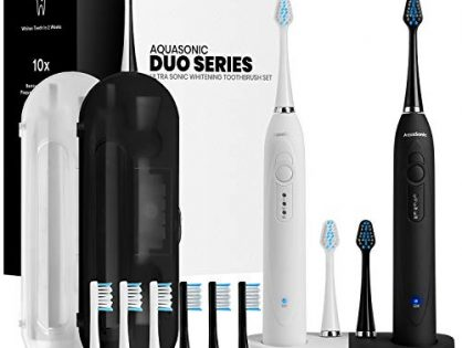 Dual Handle Ultra Whitening Rechargeable Electric ToothBrushes - AquaSonic DUO - 40,000 VPM Motor & Wireless Charging - 3 Modes with Smart Timers - 10 DuPont Brush Heads & 2 Travel Cases Included