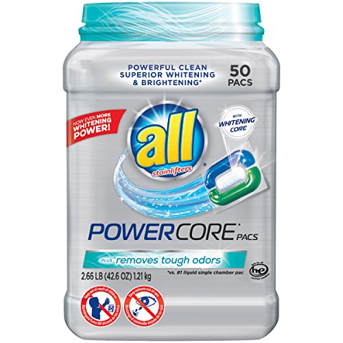 all Powercore Pacs Laundry Detergent Plus Removes Tough Odors, Tub, 50 Count