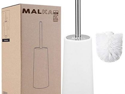 Toilet Bowl Scrubber Cleaner, Durable Shed-Free Scrubbing Bristles, Discreet Wand Stand - Long Heavy Duty Stainless Steel Handle - Malka White Toilet Brush with Holder and Extra Brush