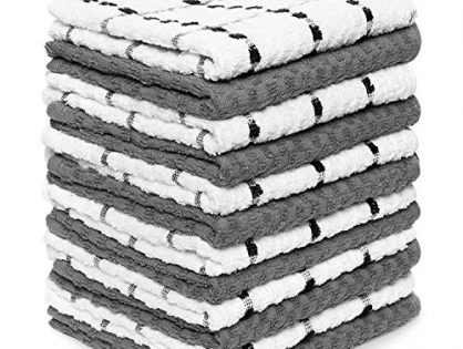"Zeppoli Kitchen Towels, 12 Pack - Dobby Weave -Great for Cooking in Kitchen and Household Cleaning 12-Pack - 100% Soft Cotton -15"" x 25"""