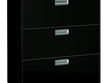HON Brigade 3-Drawer Filing Cabinet - 600 Series Lateral Legal or Letter File Cabinet, Black H683
