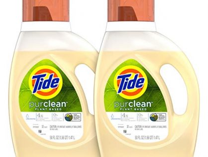 Tide Purclean Plant-Based Laundry Detergent, Unscented, 2x50 oz, 64 Loads Packaging May Vary