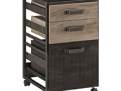 Bush Furniture Refinery 3 Drawer Mobile File Cabinet in Rustic Gray