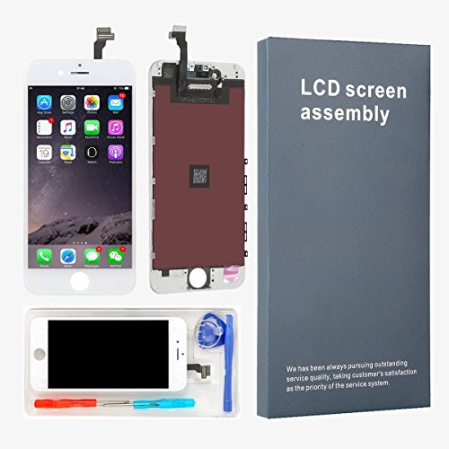 LEMANCA LCD Display Replacement Touch Screen Digitizer Frame Assembly Full Set with Free Tools and Glass Screen Protector for iPhone 6 Screen 4.7 inches White