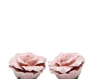 Beautiful Pink Rose Flower Salt & Pepper Shaker S/P