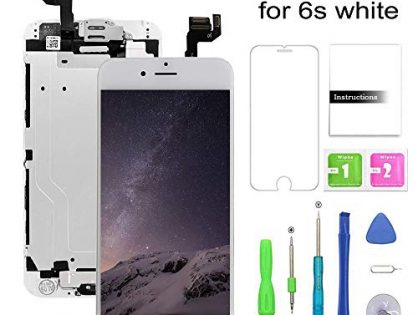 Screen Replacement Compatible for iPhone 6s White LCD Display & Touch Screen Digitizer Replacement + Home Button+Front Camera+Earpiece Pre-Assembled +Screen Protector Free Repair Tools4.7''