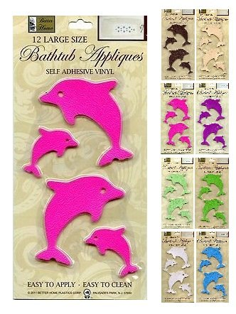 Better Home 12 Fun Dolphin Shaped Bath Tub/Shower Walls Appliques Safety Non Slip Treads, Latest Decoration Colors Pink