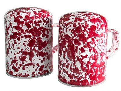 Enamelware Salt & Pepper Shaker Set, Red Marble