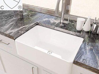KES cUPC Fireclay Sink Farmhouse Kitchen Sink 30 Inch Porcelain Undermount Rectangular White BVS117
