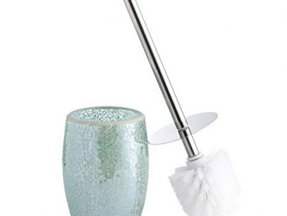 Toilet Bowl Cleaner Brush and Holder Teal Blue - Whole Housewares Bathroom Accessories Toilet Brush Set