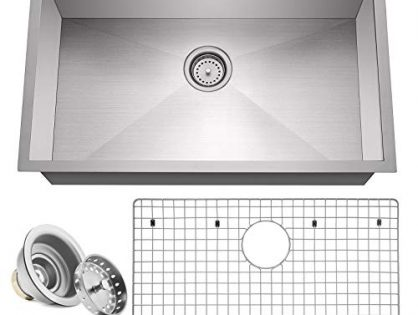 "Miligore 30"" x 18"" x 10"" Deep Single Bowl Undermount Zero Radius 16-Gauge Stainless Steel Kitchen Sink - Includes Drain/Grid"