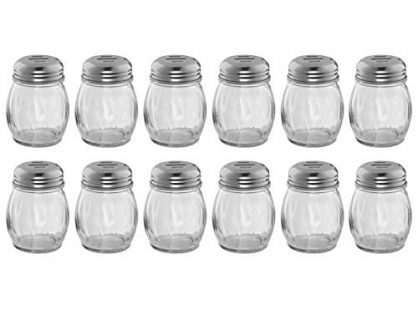 Set of 12 6-Ounce Glass Cheese Shaker with Slotted Top, Swirl Glass Cheese Shaker with Stainless Steel Slotted Lid, Restaurant Cheese and Sugar Shakers by Tezzorio