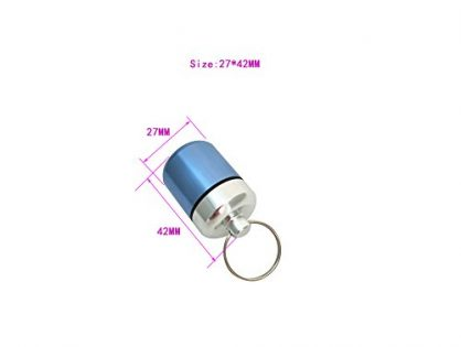 ShiShang Aluminum Waterproof Pill Case Box Fat and Short Aluminum Pill Container Blue and Gray