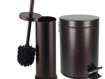 Bronze - Elaine Karen Deluxe 2 pc Toilet Brush and Garbage Can Set