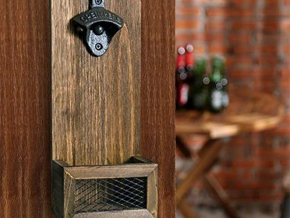 INART Vintage Wall Mounted Wooden Bottle Opener with Cap Catcher, Ideal Gift for Men and Beer Lovers