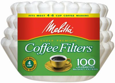 Melitta Junior Basket Coffee Filters White 100 Count