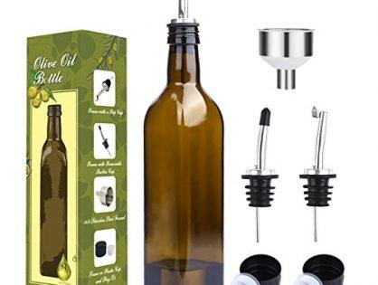 Olive Oil Carafe Decanter for Kitchen - Aozita 17oz Glass Olive Oil Bottle Set - 500ml Dark Brown Oil & Vinegar Cruet with Pourers and Funnel