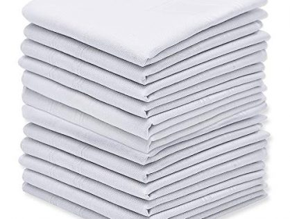 Silky Soft Pure White Cotton Men's Handkerchiefs/Hankies Pack of 12