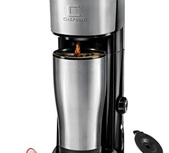 Chefman Instabrew Single Serve Coffee Maker Brewer for K-Cup Pods, Coffee-Grounds & Loose-Leaf Tea w/ Instant Reboil & Bonus Reusable Filter, Mug Not Included, Compact 14 oz, Black/Stainless Steel