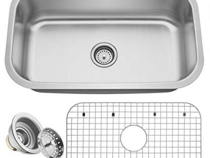 "Includes Drain/Grid - Miligore 30"" x 18"" x 9"" Deep Single Bowl Undermount 16-Gauge Stainless Steel Kitchen Sink"