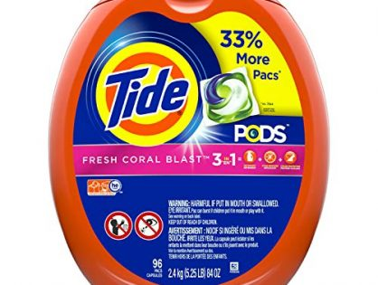 Tide Pods Liquid Detergent Pacs Fresh Coral Blast, 96 Count Packaging May Vary