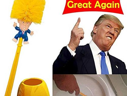 Winston Cronin Donald Trump Toilet Brush Cleaner Scrubber Set Magic Trump Toilet Brush and Holder for Bathroom Deep Cleaning Make Toilet Great Again with Base Shipping by FBA