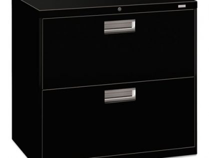 """600 Series Lateral Metal File Cabinet, 30""""W by 19-1/4""""D, Black H672 - HON Brigade 2-Drawer Filing Cabinet"""