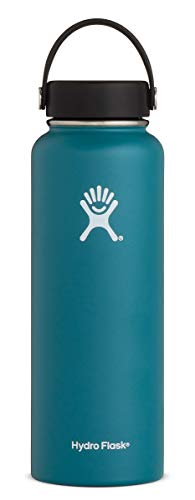 Hydro Flask 40 oz Double Wall Vacuum Insulated Stainless Steel Leak Proof Sports Water Bottle, Wide Mouth with BPA Free Flex Cap, Jade