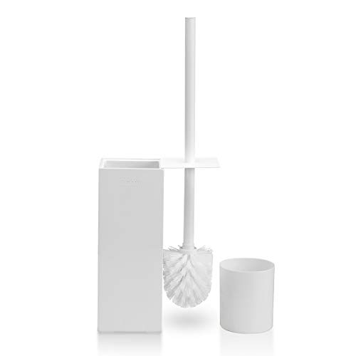 GOBAM Toilet Brush and Holder, Long Stainless Steel Handle with Lid and Strong Bristles, Fits All Bathroom Toilet Types, BambooWhite