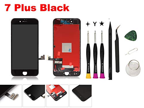 Oli & Ode Compatible with iPhone 7 Plus Screen Replacement 5.5 Inch Black, LCD Digitizer Touch Screen Assembly Set with 3D Touch, Repair Tools and Replacement Manual Included Black