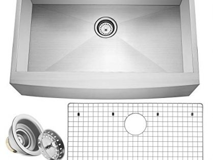 "Miligore 33"" x 21"" x 10"" Deep Single Bowl Farmhouse Apron Zero Radius 16-Gauge Stainless Steel Kitchen Sink - Includes Drain/Grid"