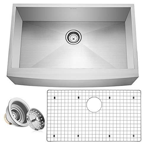 """Miligore 33"""" x 21"""" x 10"""" Deep Single Bowl Farmhouse Apron Zero Radius 16-Gauge Stainless Steel Kitchen Sink - Includes Drain/Grid"""