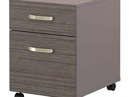 Bush Furniture Commerce 2 Drawer Mobile File Cabinet in Cocoa and Pewter