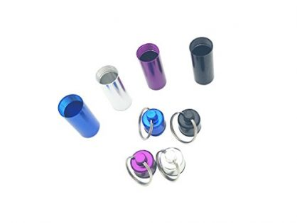 4 Pack Multicolored Waterproof Aluminum Pill Box Case Mini Portable Keychain Holder and Earplugs Storage