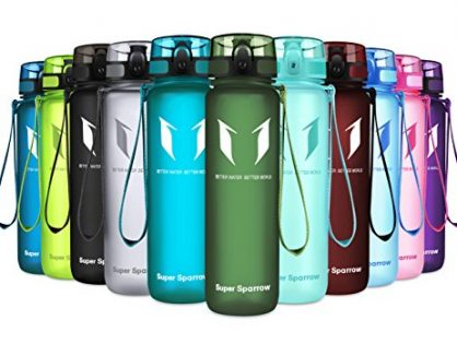 Fast Water Flow, Flip Top, Opens with 1-Click - 17oz & 32oz - Eco Friendly & BPA-Free Plastic - Super Sparrow Sports Water Bottle - Reusable with Leak-Proof Lid Sage, 500ml-17oz