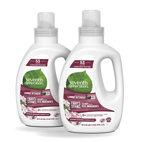 Seventh Generation Concentrated Laundry Detergent, Geranium Blossom & Vanilla, 40 oz, 2 Pack 106 Loads