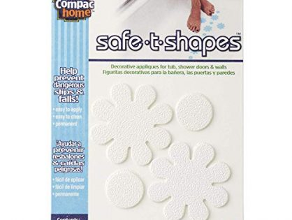 Compac Safe T Shapes Bathtub Decals - Functional Non-Slip Decorative Bath Appliques for Tubs/Showers, Bath Stickers Keep Children Safe From Slipping Small Daisies, White, 3 packs of 12 Appliques