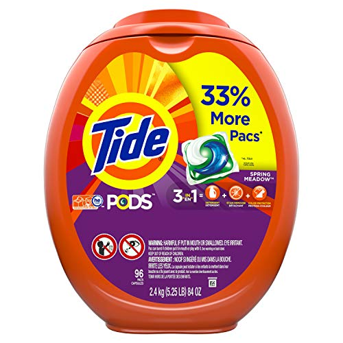 Tide Pods Liquid Laundry Detergent Pacs Spring Meadow, 96 Count Packaging May Vary