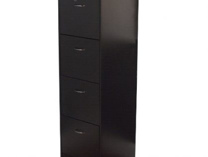 Target Marketing Systems Wilson Collection Modern 4 Drawer Filing Cabinet With Lock and Key, Black