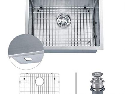 "MOWA HTS2522 25"" x 22"" Topmount Laundry Utility Sink 16 Gauge Stainless Steel 9 Gauge Extra Thick Deck, Drop In Single Bowl Kitchen Sink w/Sink Grid, Basket Strainer and Bonus Soap Dispenser"